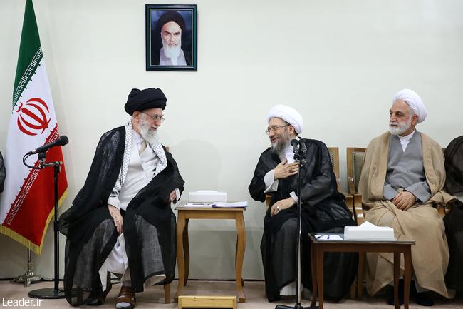 رهبر معظم انقلاب اسلامی در دیدار رئیس و مسئولان قوه قضائیه