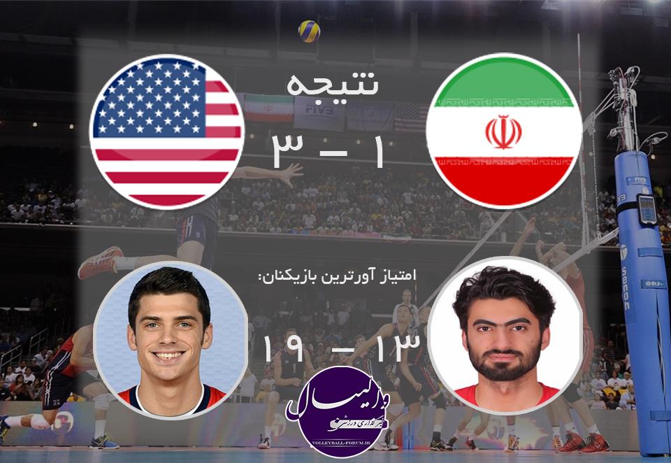 شکست مجدد ایران مقابل آمریکا در دومین بازی