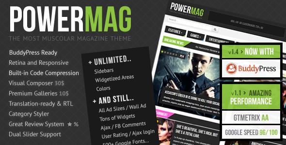 دانلود رایگان قالب پریمیوم مجله ای وردپرس به نام PowerMag