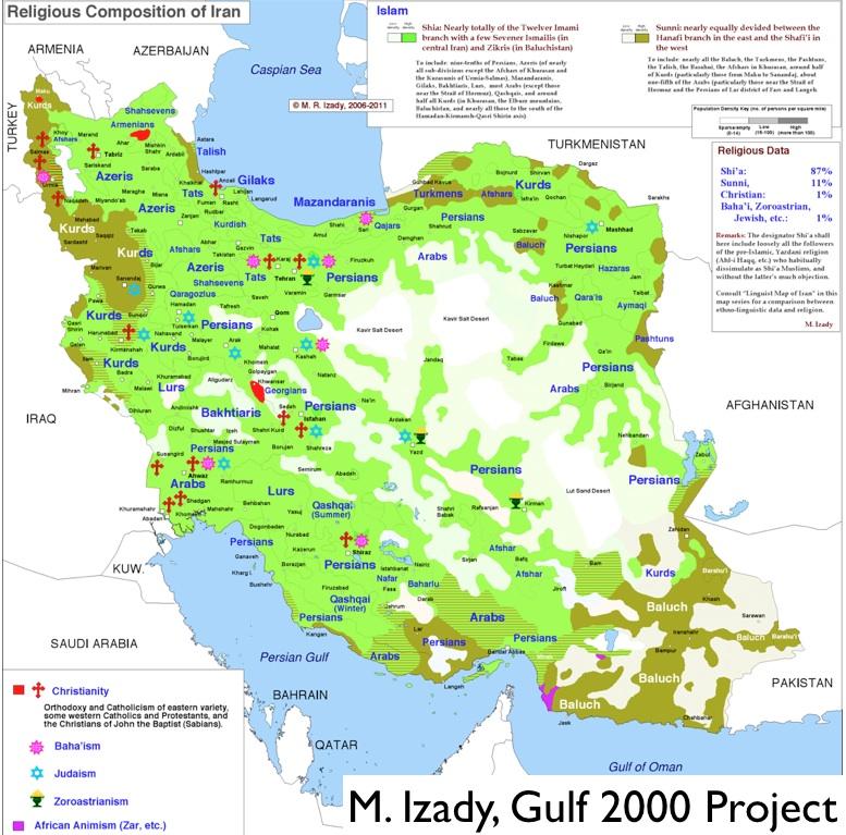 نقشه ادیان ایران