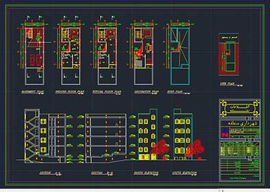 پکیج نقشه های اتوکدی آپارتمان های 4 طبقه