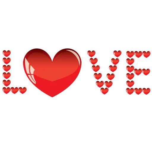 استیکرهای تلگرام حروف انگلیسی ساخته شده با قلب
