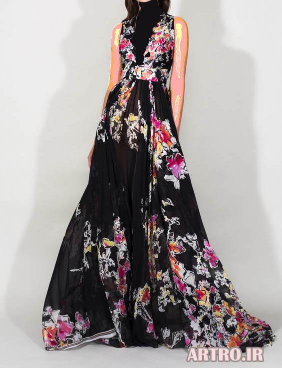 مدل لباس مجلسی بلند گلدار