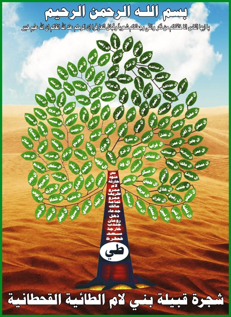 شجرة نسب  قبیلة بنی لام الطائیه القحطانیه