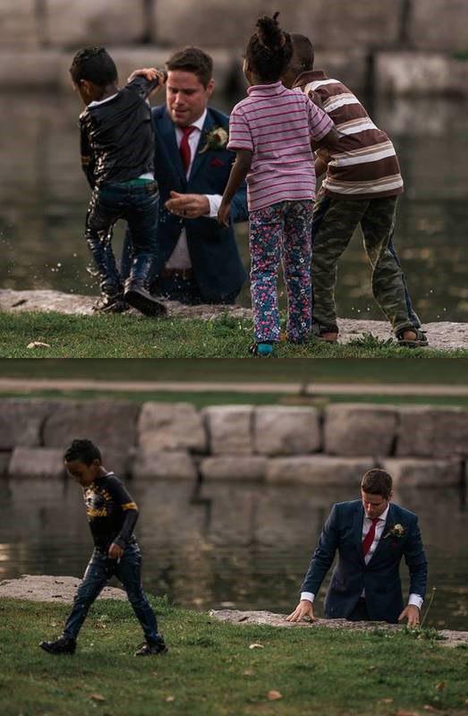 داماد کانادایی برای نجات کودک به آب زد