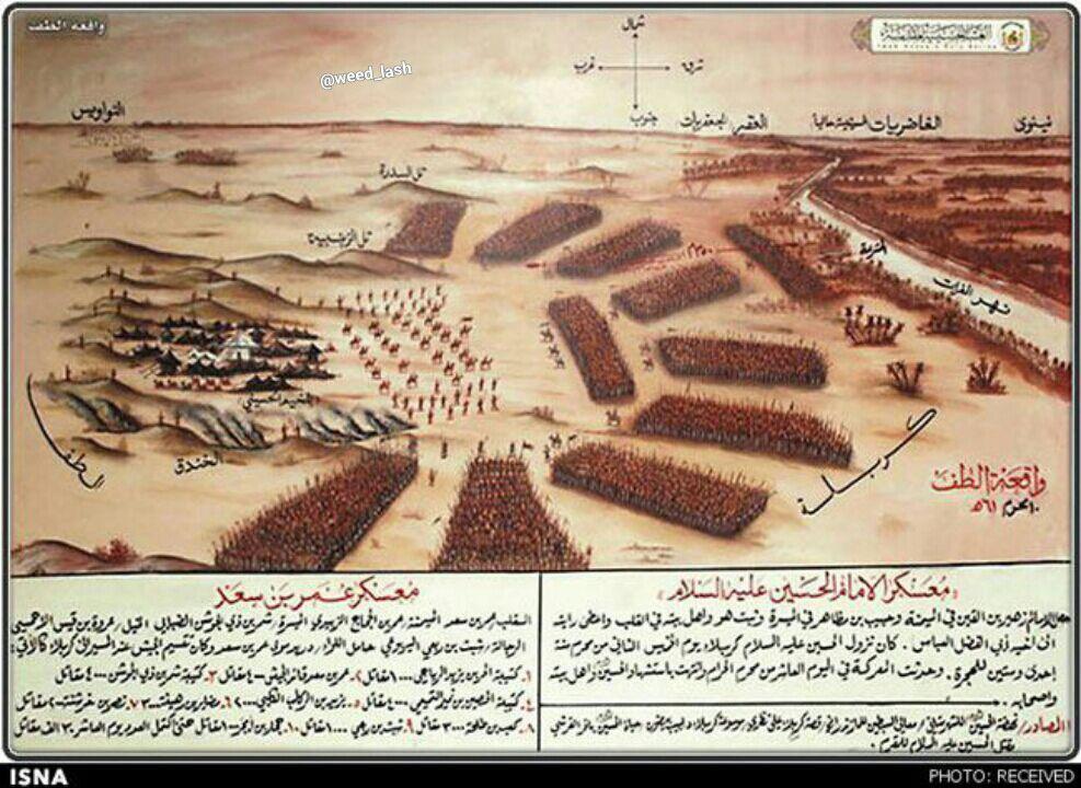 آرایش یاران امام حسین (ع) و سپاه یزید را در سال 61 هجری قمری