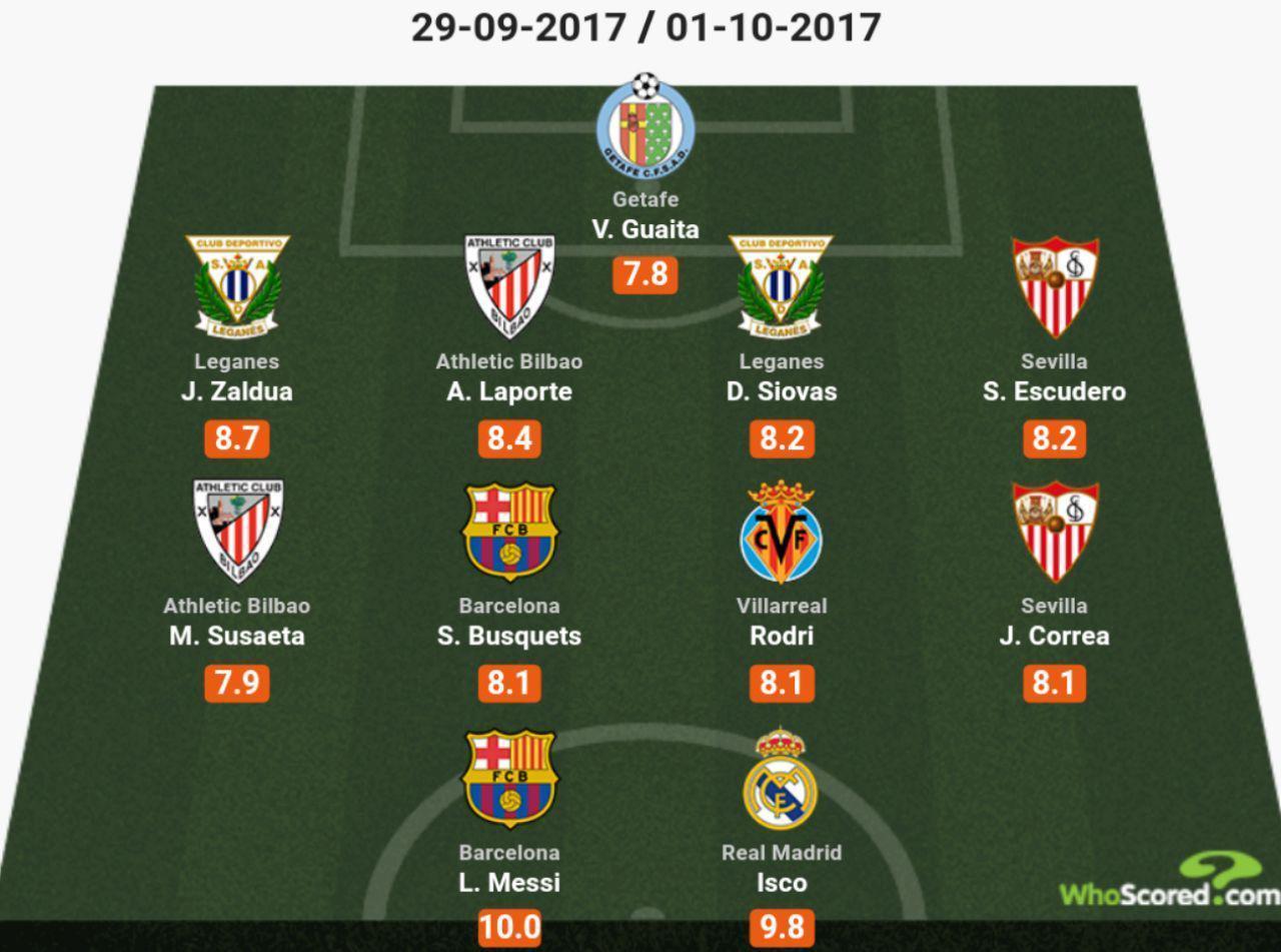 ایسکو از رئال مادرید در تیم منتخب از هفته هفتم