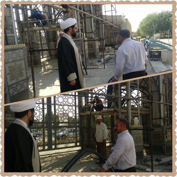 ازدید امام جمعه محترم شهر قهدریجان از مراحل ساخت سر درب امامزاده سید محمد قهدریجان