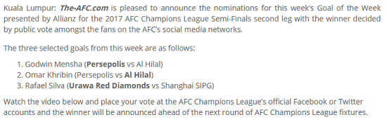 گل منشا کاندیدا زیباترین گل هفته لیگ قهرمانان آسیا شد