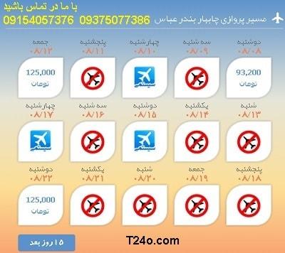 خرید بلیط هواپیما چابهار به بندرعباس+09154057376