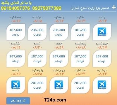 خرید بلیط هواپیما یاسوج به تهران+09154057376