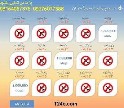 خرید بلیط هواپیما هامبورگ به تهران+09154057376