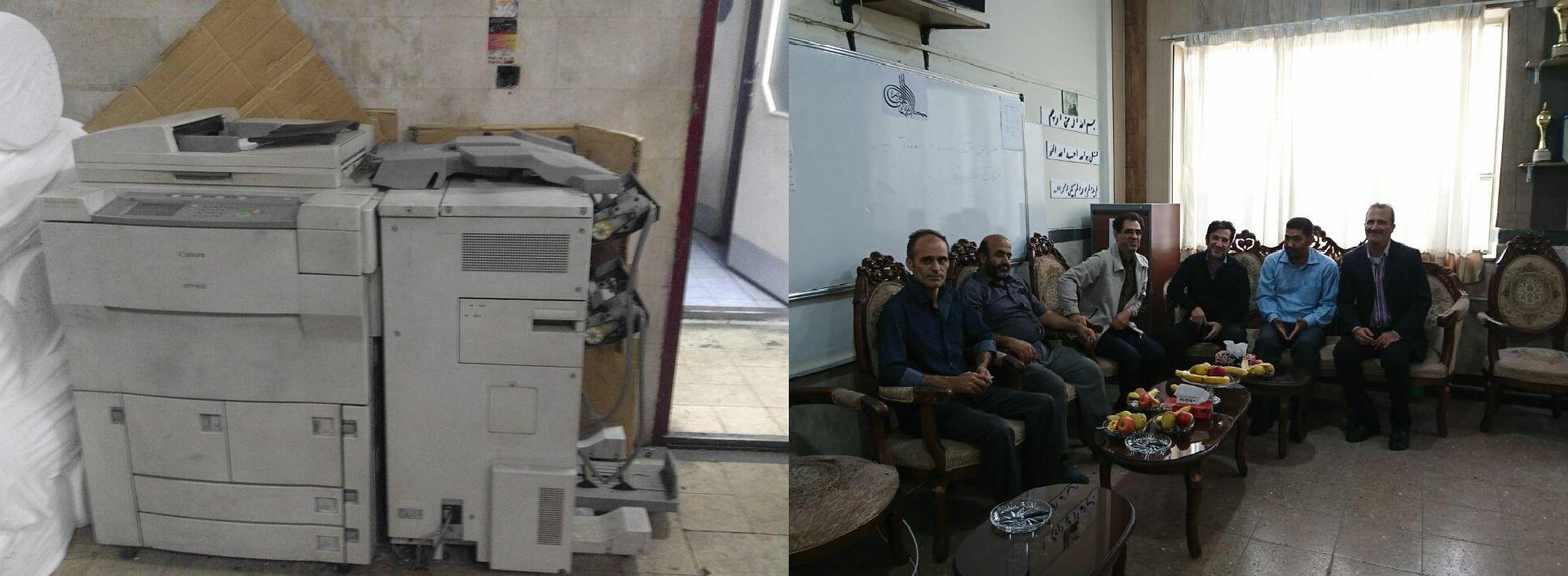 اهدای دستگاه تکثیر از طرف سازنده و خیر مدرسه جناب آقای مهندس پورمهدی