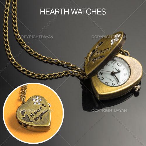ساعت گردنبندی طرح قلب - ساعت گردنبندی