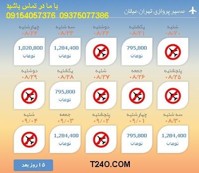 خرید اینترنتی بلیط هواپیما تهران میلان 09154057376
