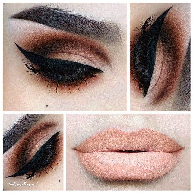 مدل آرایش چشم و لب ساده,