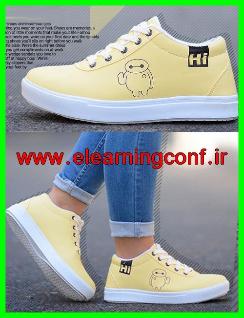 خرید اینترنتی مدل جدید 2018 چرم مصنوعی دخترانه فشن رنگ زرد لیمویی 1397 مدل کفش کتونی اپرت ورزشی برای خانوم های لاغر پا رنگ روشن بند سفید زیره سفید ارزان قیمت
