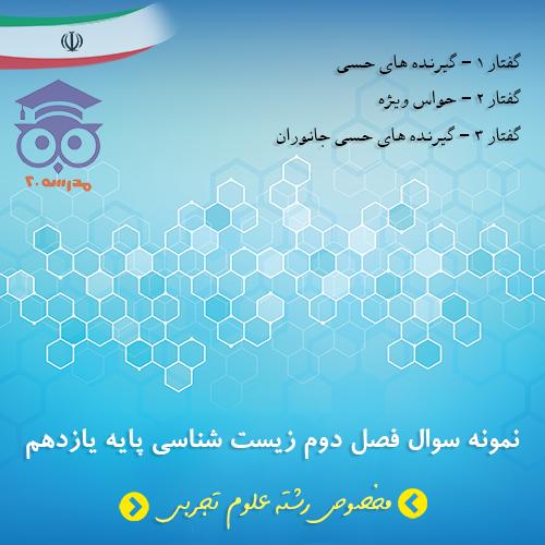 نمونه سوال فصل دوم زیست شناسی پایه یازدهم