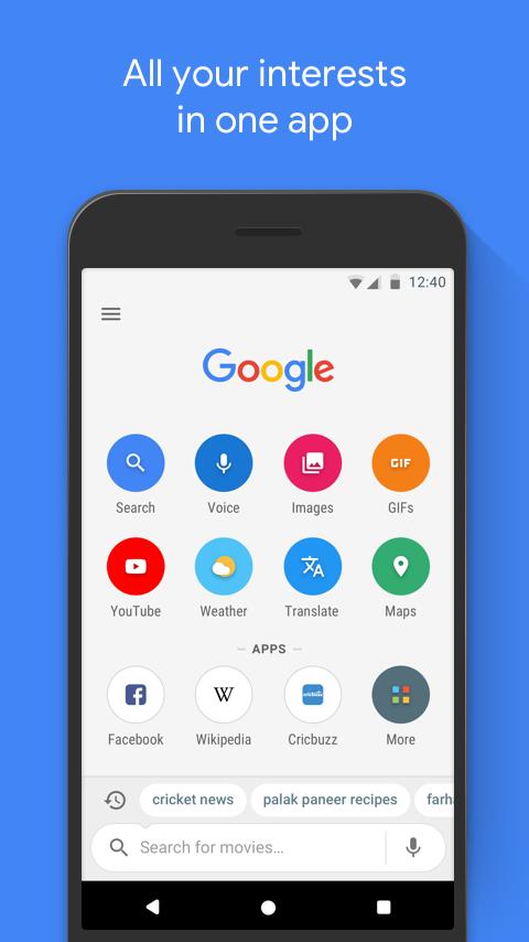 دانلود رایگان برنامه گوگل گو Google Go: A fast, easy, fun way to search