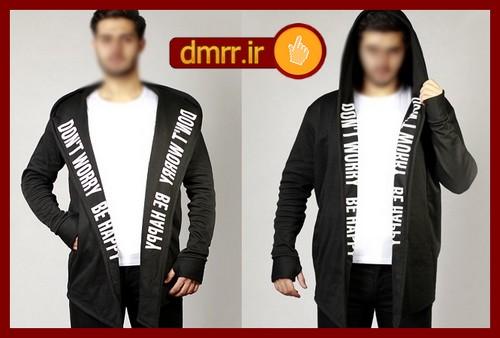 شنل مردانه زمستانه پاییزه رنگ مشکی پارچه خار خورده
