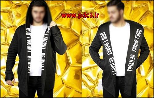 لباس شنل مشکی مردانه پسرانه طرح فونت انگلیسی