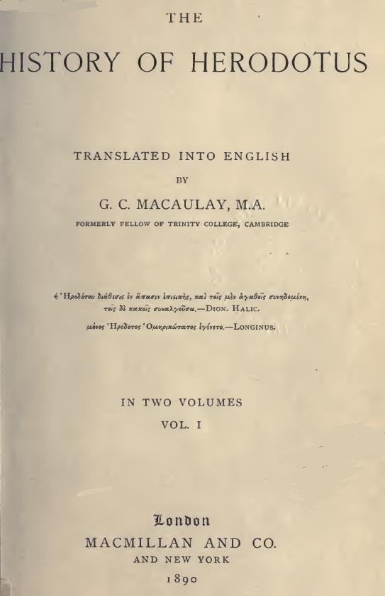 دانلود کتاب کامل نه جلدی تاریخ هرودوت به زبان انگلیسی