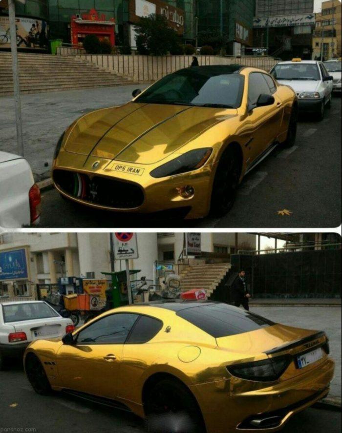 وجود دو خودروی گران قیمت با روکش طلا در ایران + عکس