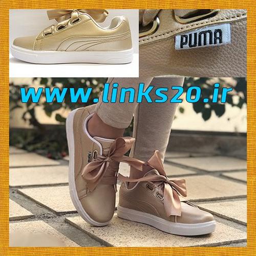 کفش دخترانه پایپونی ارزان قیمت نسکافه ای روشن