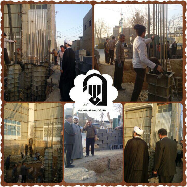 بازدید امام جمعه محترم شهر قهدریجان و مسئول امور مساجد از مراحل ساخت سر درب مسجد بلال و توصیه های ای