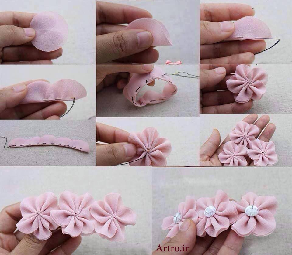 آموزش دوخت چند مد گل پارچه ای تزیینی لباس