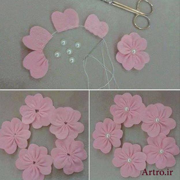 گل پارچه ای تزیینی لباس