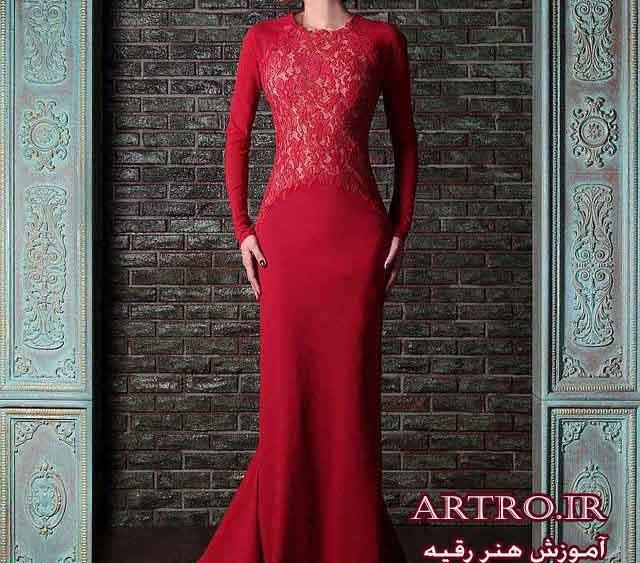 مدل لباس شب زنانه قرمز,