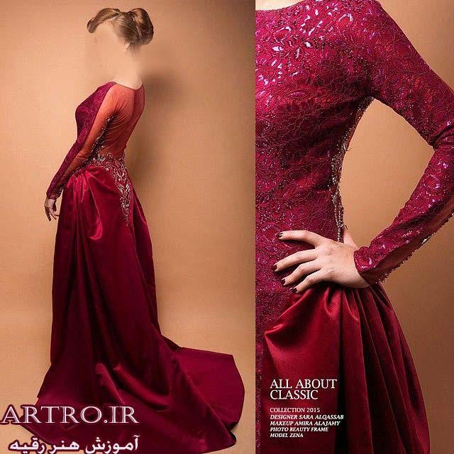 مدل لباس مجلسی زنانه قرمز,