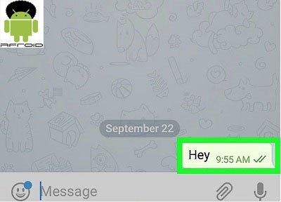 پنجره باز شده پیام تلگرام