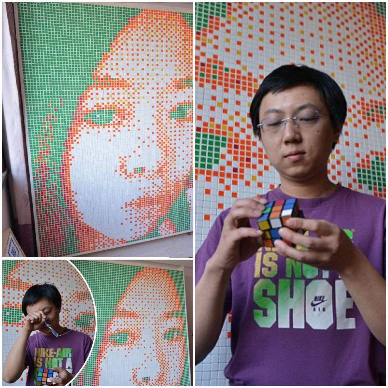 کشیدن چهرهی دختر مورد با استفاده از مکعب روبیک !