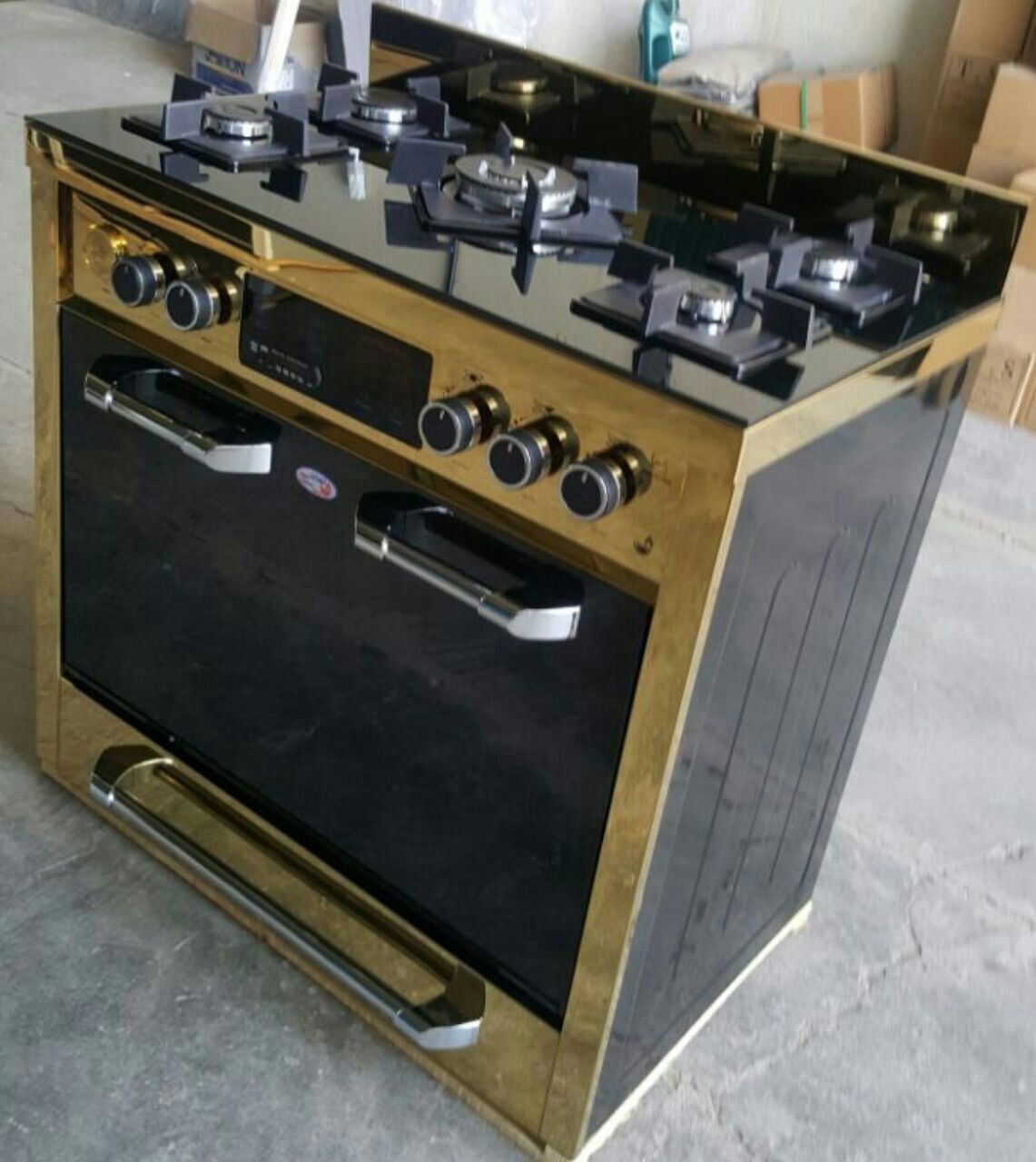 اجاق گاز طرح فر تهران سوز tehransouz مدل تکنو تکدرب مشکی نما طلایی