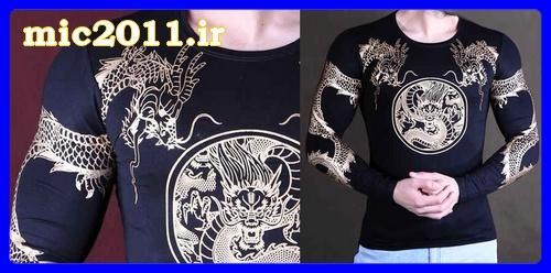 خرید اینترنتی بلوز تیشرت مشکی مردانه تاتو اژدها