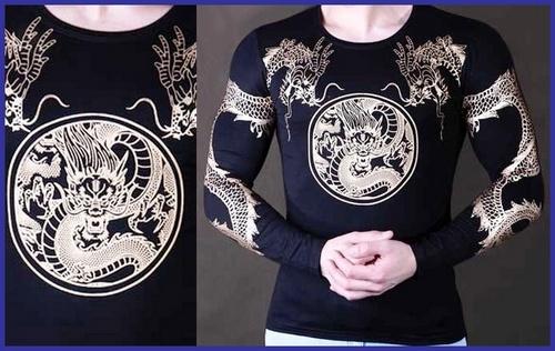 بلوز آسیتن دار زمستانی تاتو اژدها مخصوص آقایان
