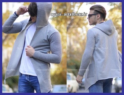 لباس هودی مردانه طوسی مجلسی
