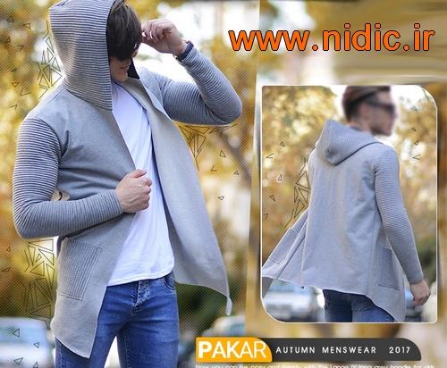 سویشرت هودی جلو باز طوسی مردانه مدل PAKAR پاکر