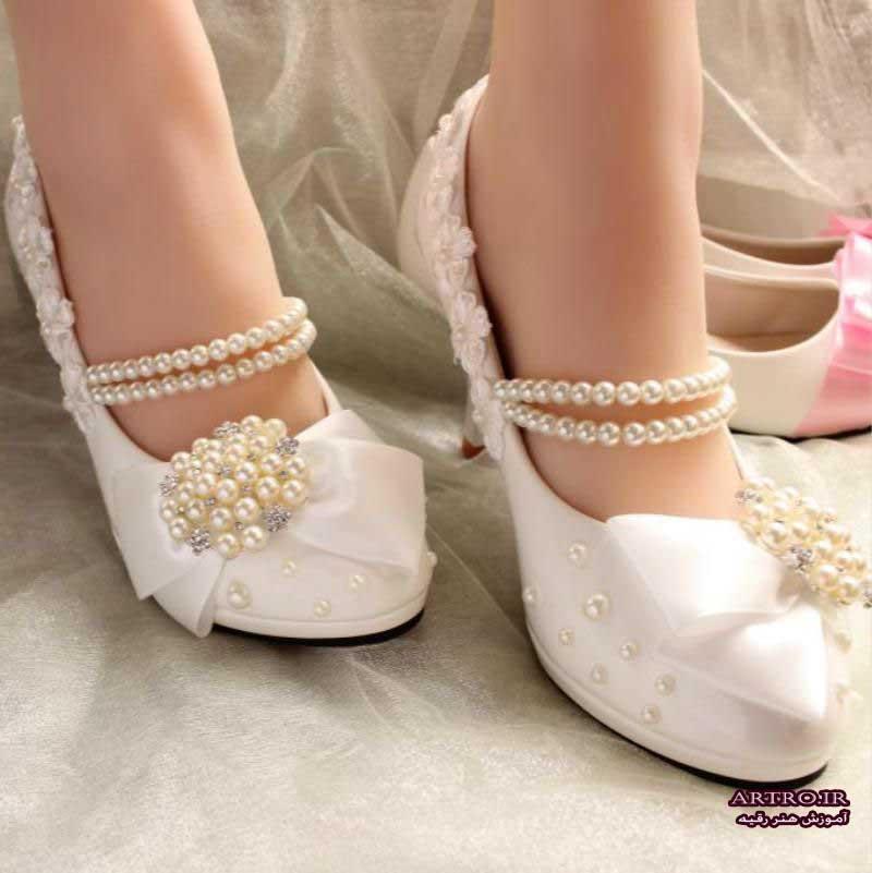 مدل کفش عروس بدون پاشنه,