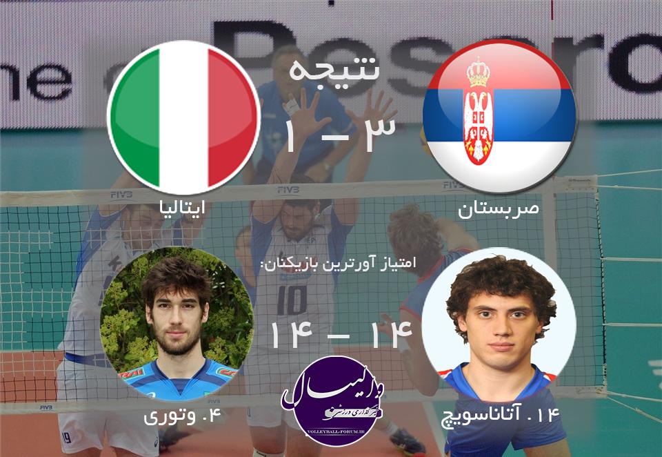 پیروزی صربستان مقابل ایتالیا