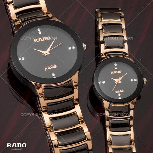 ست ساعت مردانه و زنانه Rado مدل jubile(مسی و مشکی)