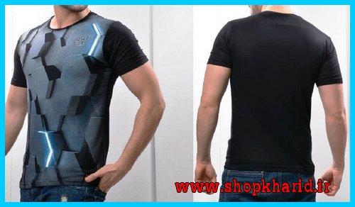 تیشرت مردانه سه بعدی مدل آستین کوتاه چسبان