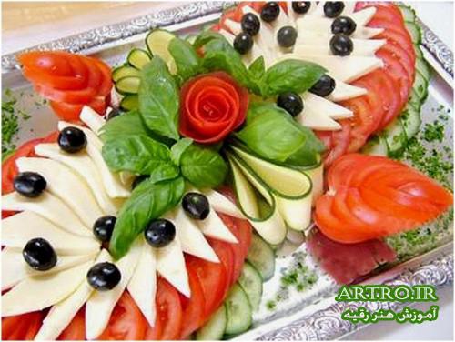 تزیین سالاد سبزی