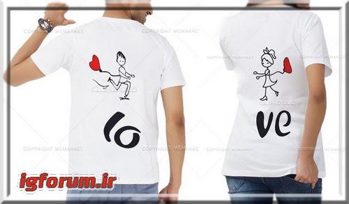 ست تی شرت مشکی و سفید زنانه مردانه زن و شوهر
