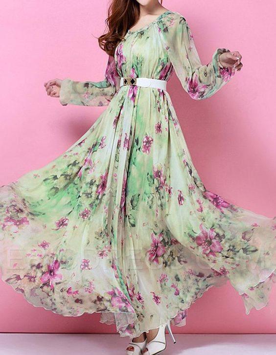 مدل پیراهن بلند زنانه گلدار2018