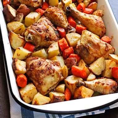 نحوه پخت خوراک مرغ و سیب زمینی | طرز تهیه خوراک مرغ