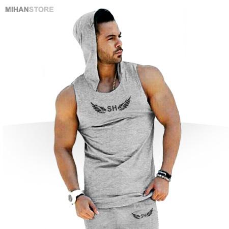 ست رکابی کلاه دار و شلوارک SH - لباس تابستانی مردانه