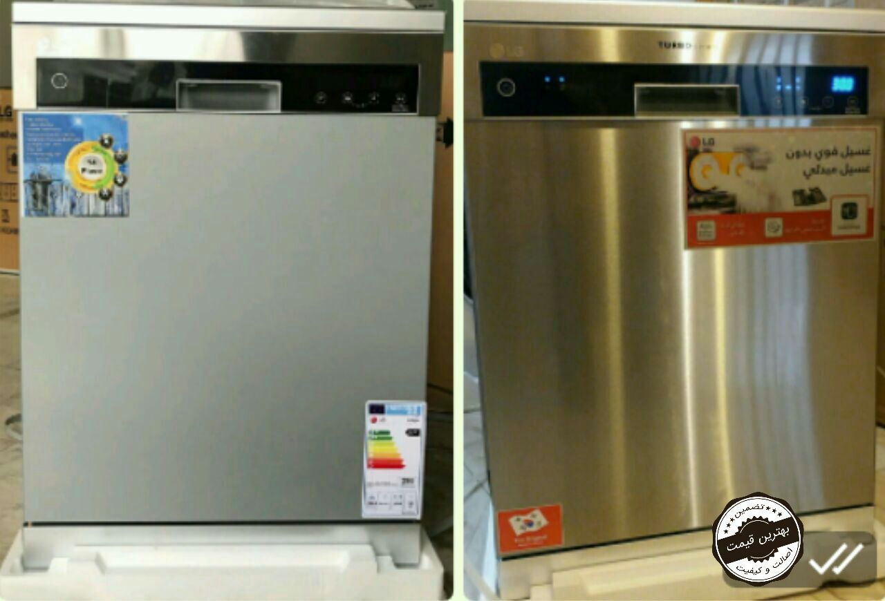 ظرفشویی ال جی LG مدل 1484 سفید و سیلور صفحه تمام لمسی 14نفره